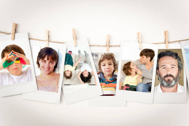 family pictures instant photo prints collection (clipping path) - photograph stock photos and pictures