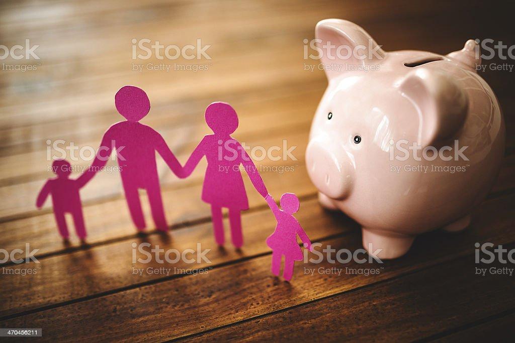 family piggy bank stock photo