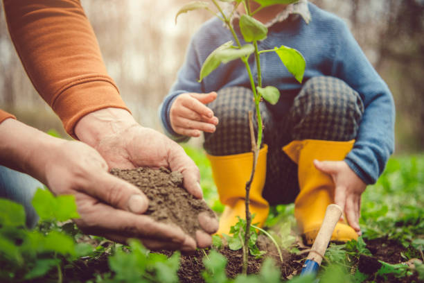 Familie pflanzt Baum am Arbor-Tag im Frühjahr – Foto