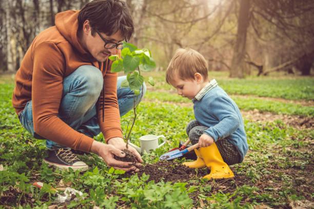 Familienpflanzung Baum am Arbor-Tag im Frühjahr – Foto