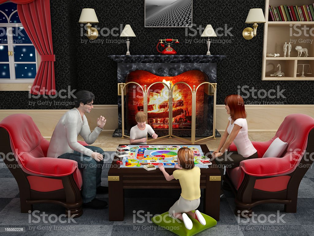 Family playing a boardgame royalty-free stock photo