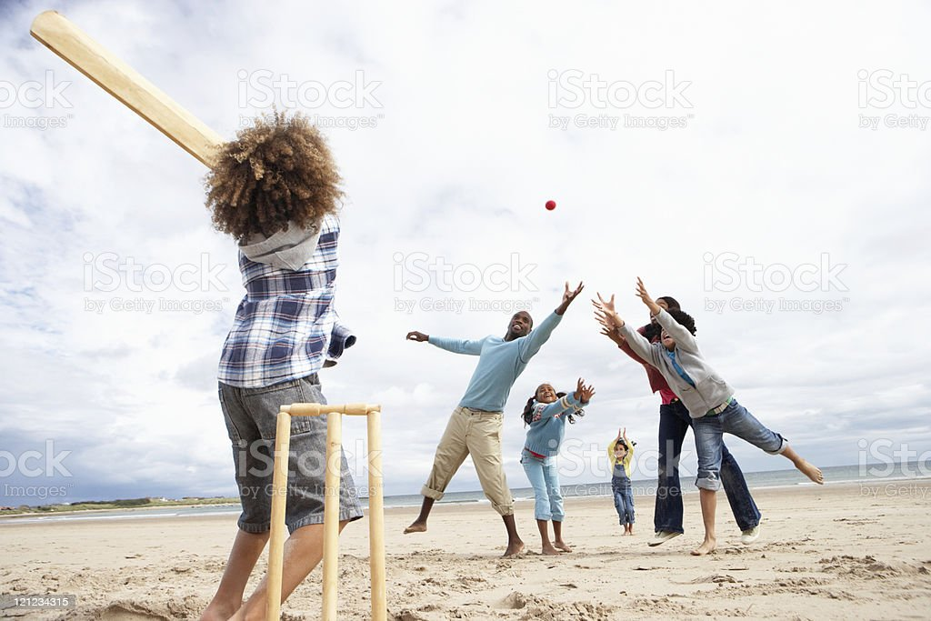 Family playing cricket on beach royalty-free stock photo