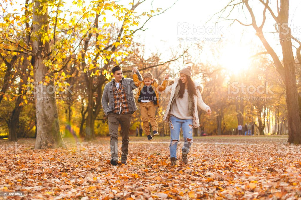 Family playing in autumn leaves stock photo