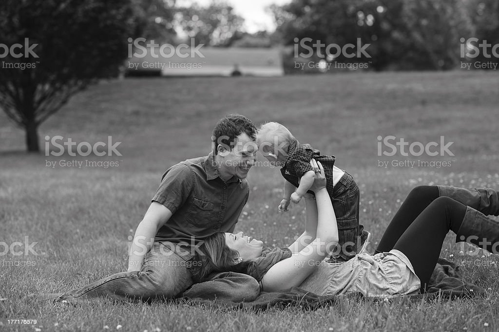 Family Playing Outside During Summer royalty-free stock photo
