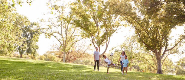 Family Playing Soccer In Park Together Family Playing Soccer In Park Together panoramic stock pictures, royalty-free photos & images