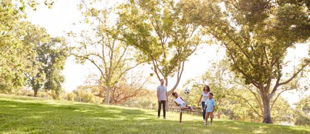 family playing soccer in park together - panorâmica imagens e fotografias de stock