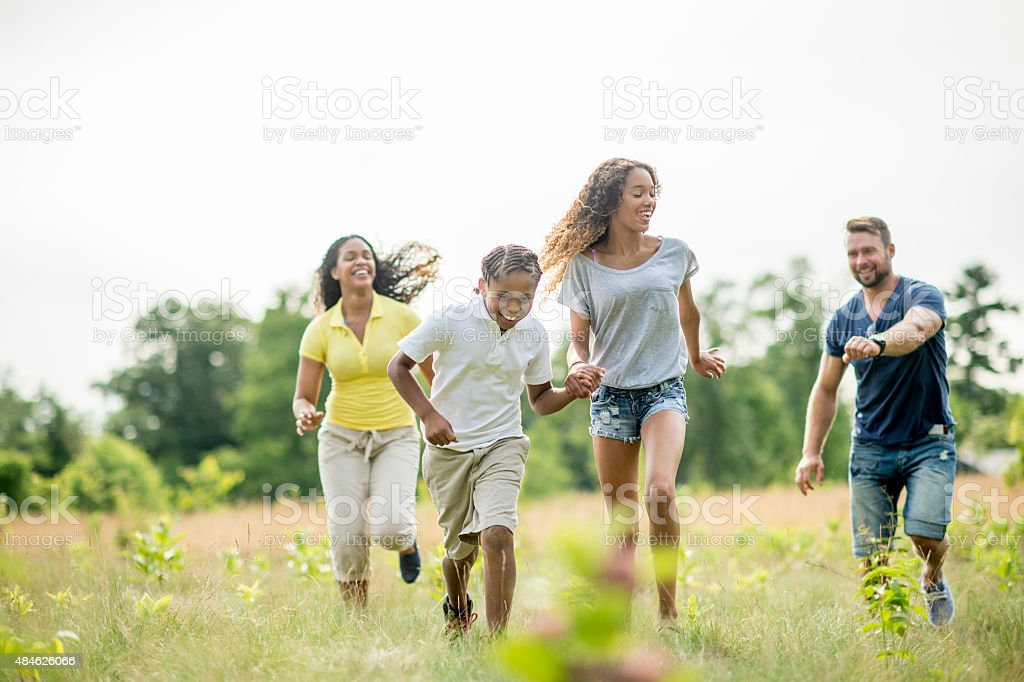 Family Playing Tag royalty-free stock photo