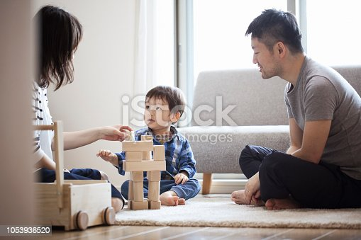 istock Family playing with building blocks together 1053936520