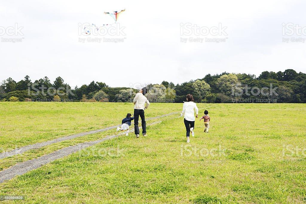 Family playingsith kite in prairie stock photo