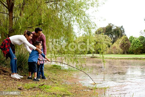 509813720 istock photo Family plays around the lake 1141360821