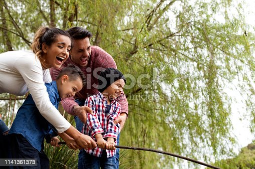 509813720 istock photo Family plays around the lake 1141361373
