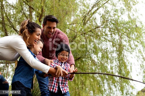 509813720 istock photo Family plays around the lake 1141361412
