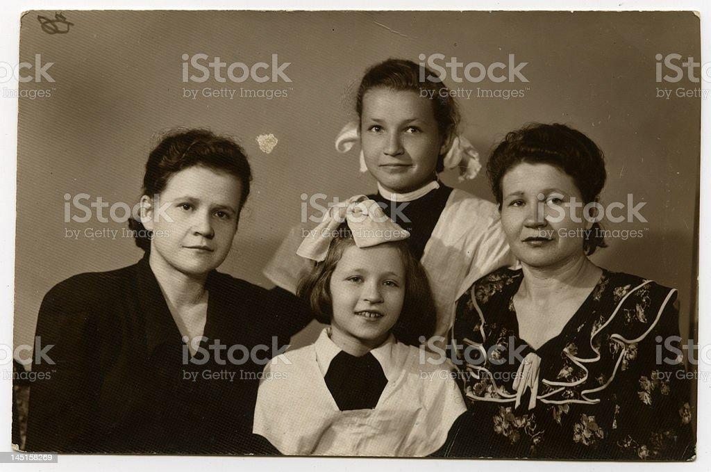 family portrait, 1955 stock photo