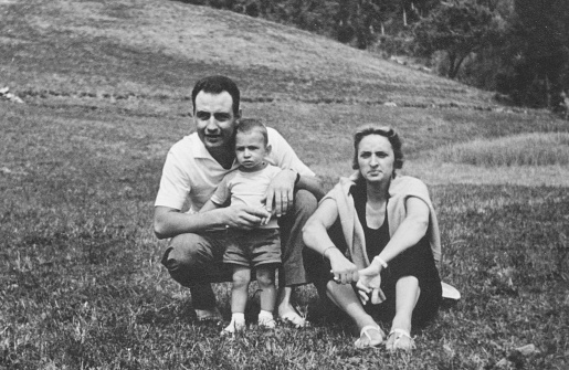 Family portrait in 1960, black and white photography