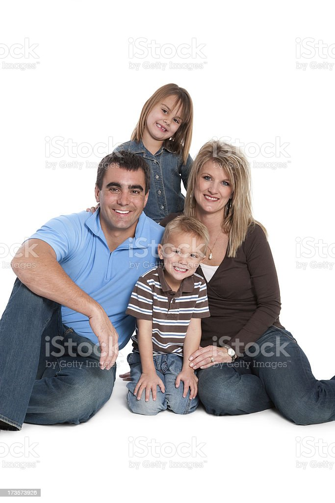 Family Portrait Mother Father Young Children Isolated White Background royalty-free stock photo