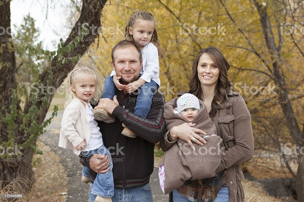 Family Portrait of Five Outdoors royalty-free stock photo