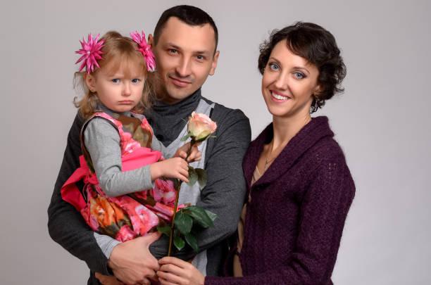 Family portrait on a white background stock photo
