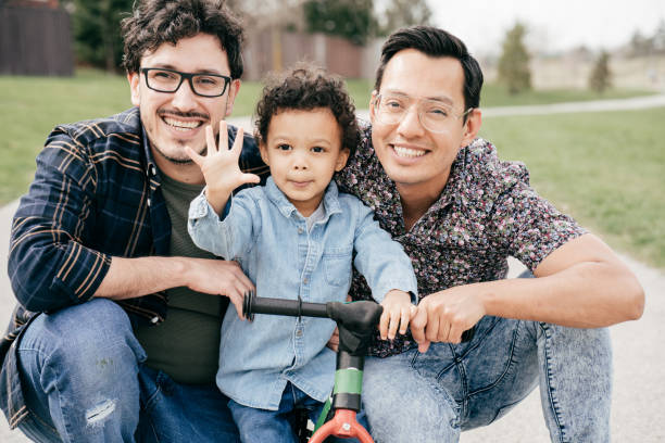 LGBTQ family portrait stock photo