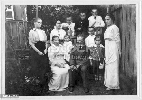 Vintage family portrait. 25s anniversary of wedding. The year 1916.