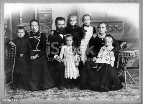 Vintage family portrait. 10s anniversary of wedding. The year 1901.