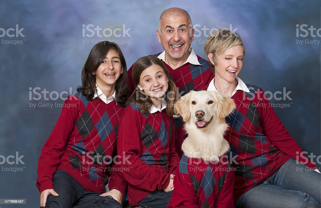 Family Portrait With Cardigans stock photo