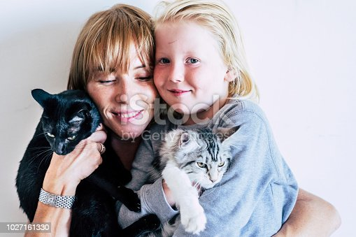 istock family portrait with  caucasian mother blonde beautiful middle age woman and young white skin son and two lovely adorable cats. group hug with persons and animals. best friends forever together concept 1027161330
