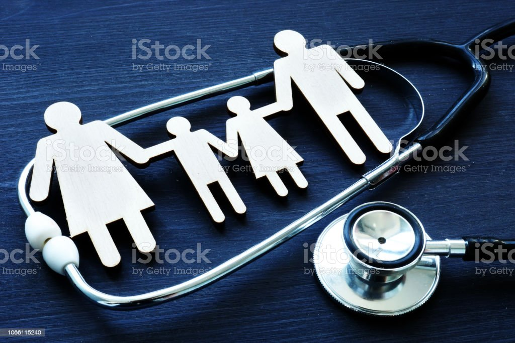 Family practices. Figures and stethoscope. Health care. royalty-free stock photo