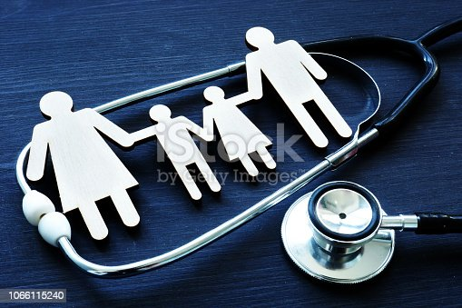 Family practices. Figures and stethoscope. Health care.