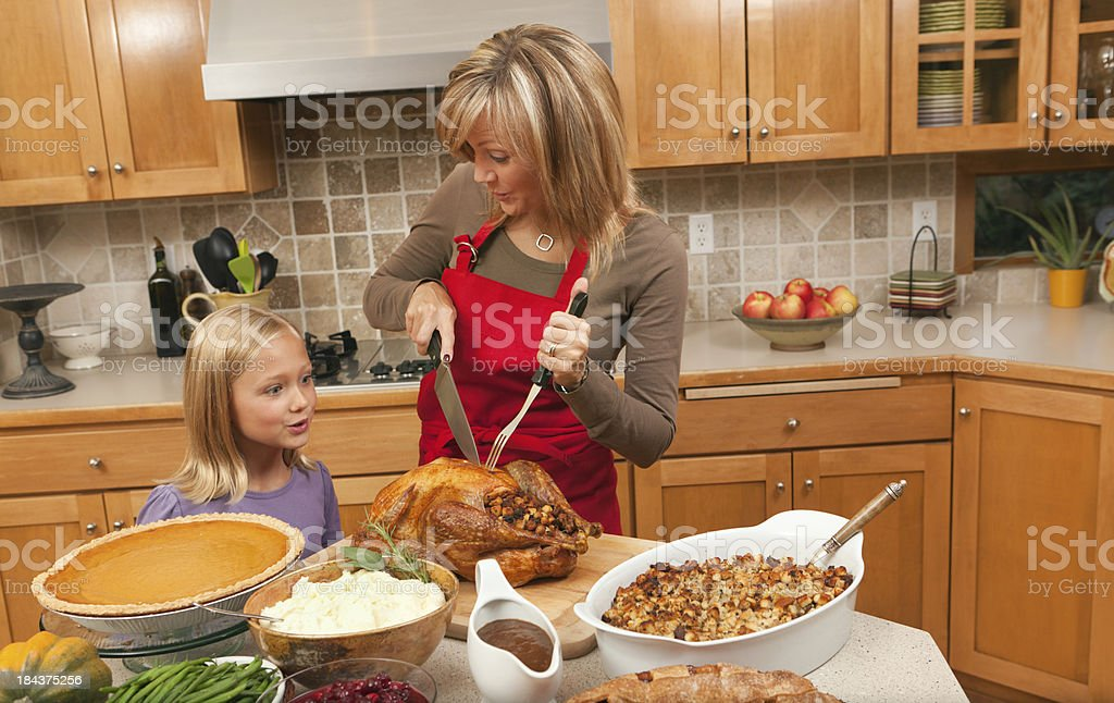 Family Preparing Cooking and Serving Thanksgiving Roast Turkey Dinner Hz royalty-free stock photo