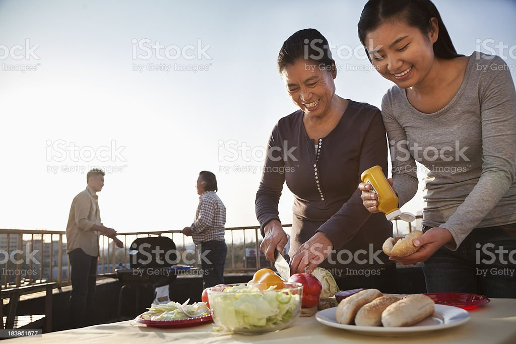 Family Preparing for Barbecue stock photo