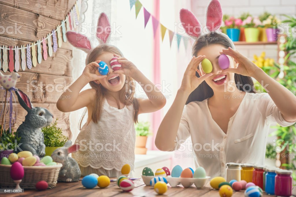 family preparing for Easter stock photo