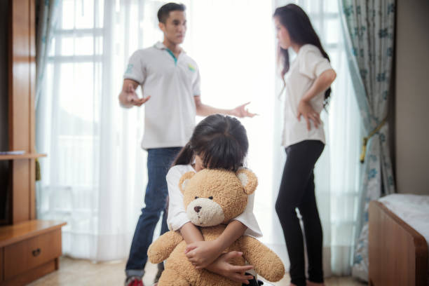 Family problem Family problem, father and mather is fighting but daughter very sad, this picture can use for kid and children problem, family broken concept asian couple arguing stock pictures, royalty-free photos & images