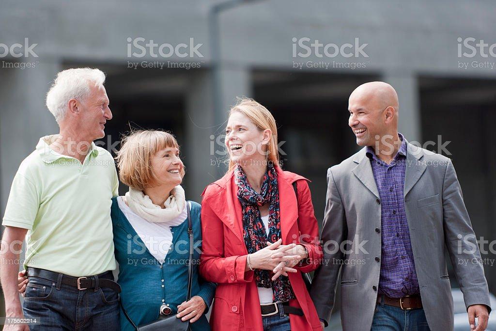 Family promenading royalty-free stock photo