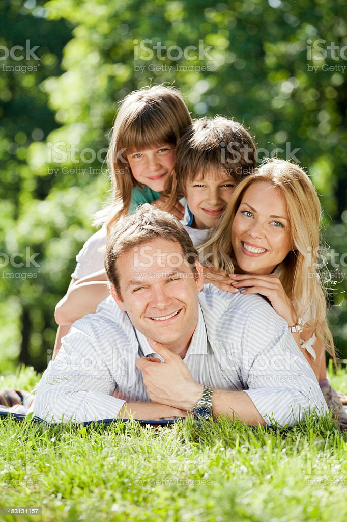Family pyramid in nature royalty-free stock photo