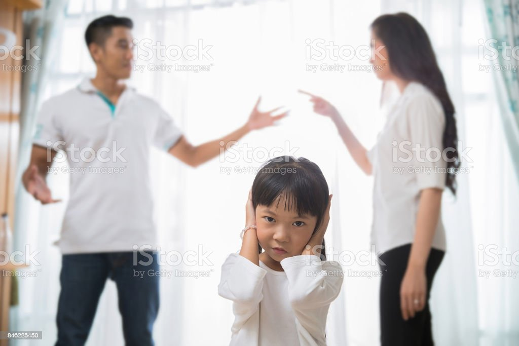 Family quarrel am daughter regrets She did not want to hear parents stock photo