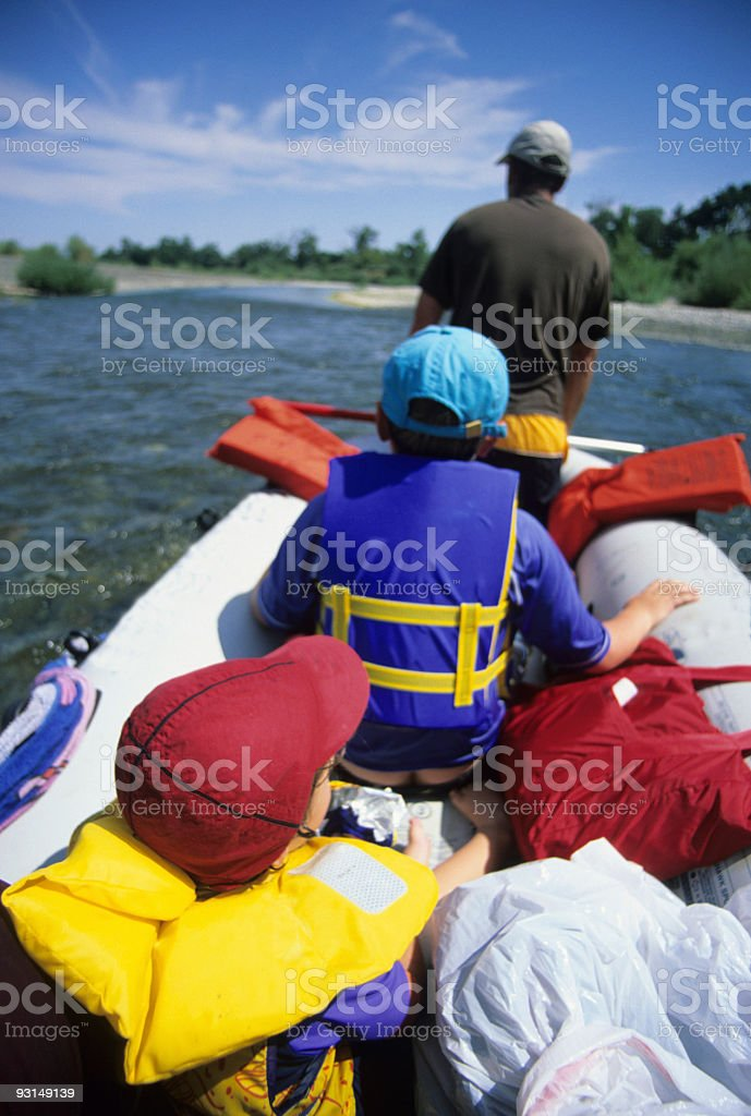 Family Rafting on the Russian River, California stock photo