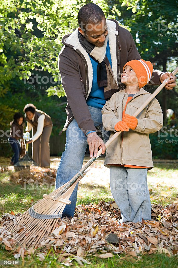 Family raking leaves stock photo