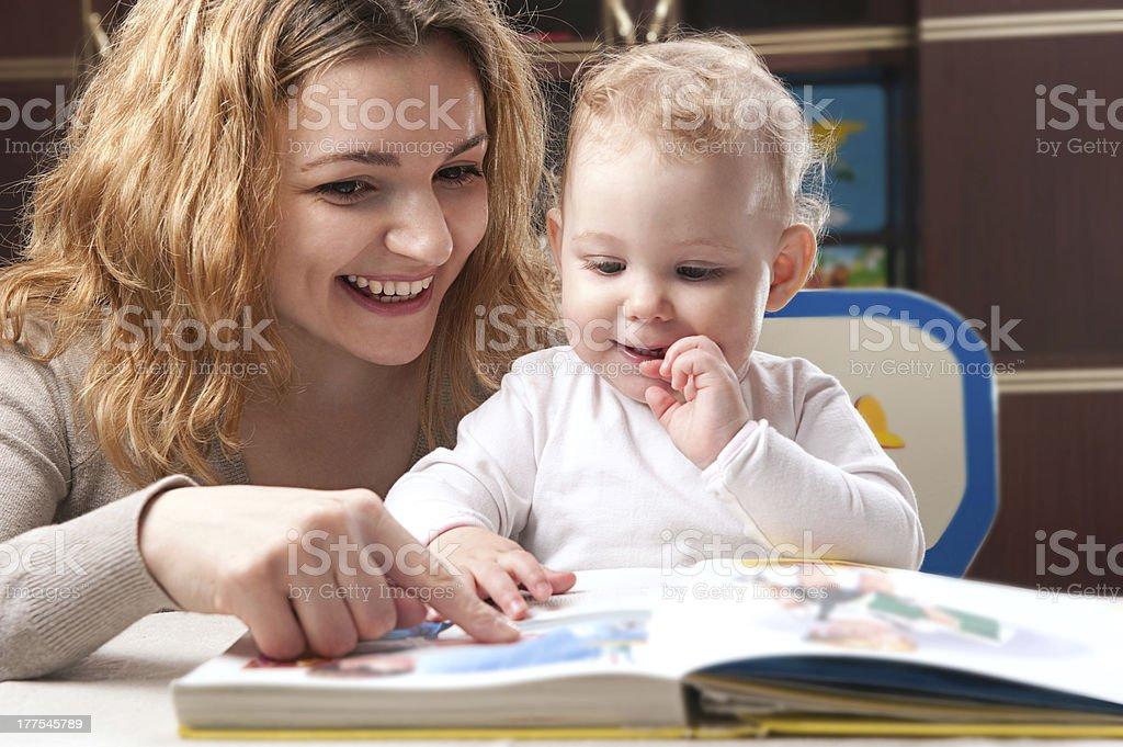 Family reading stock photo