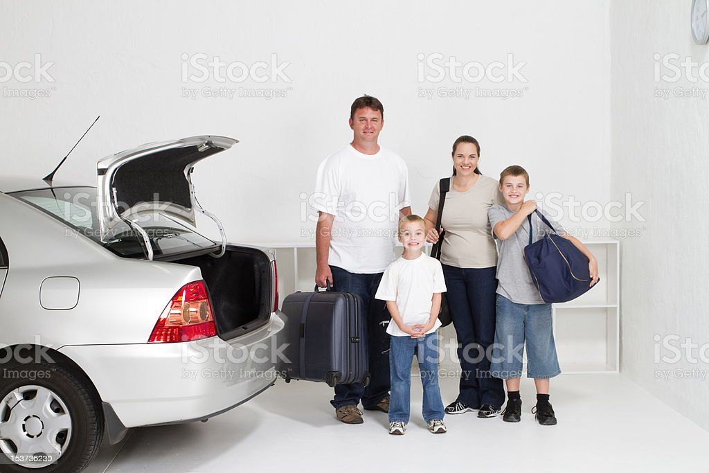 family ready for fun road trip royalty-free stock photo