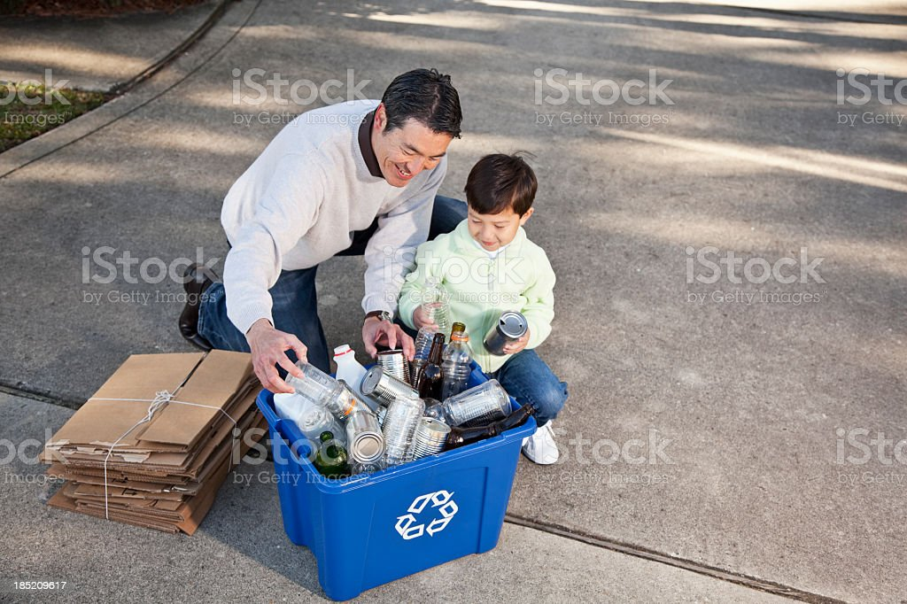 Family recycling royalty-free stock photo