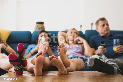 Family, Watching TV, Watching, Day, Domestic Life