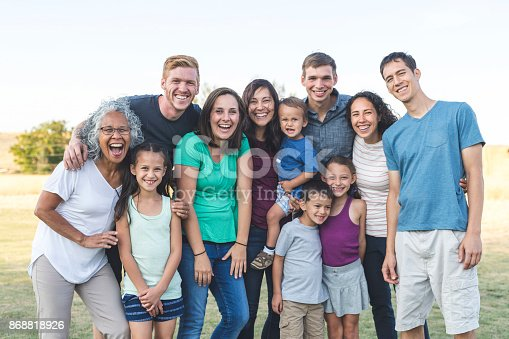 Portrait of an ethnic senior woman posing for a photograph with her adult children and her grandchildren. The multi-ethnic and multi-generation group is gathered at a family reunion. The family members are happy and smiling. They affectionately have their arms around one another. The group is outdoors in a field and it is daytime.