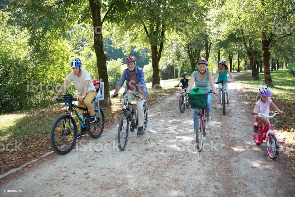 Family riding bicycle in park stock photo