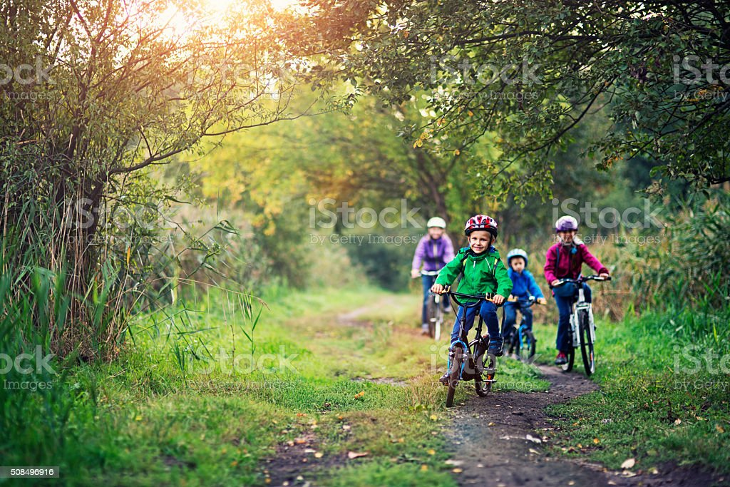 Family riding bicycles in beautiful nature stock photo