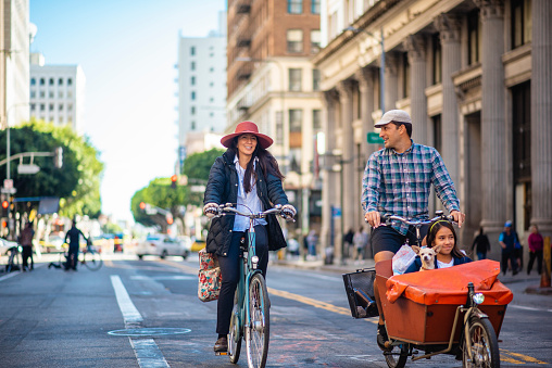 Family Riding Bikes in Downtown Los Angeles Car-Free Zone