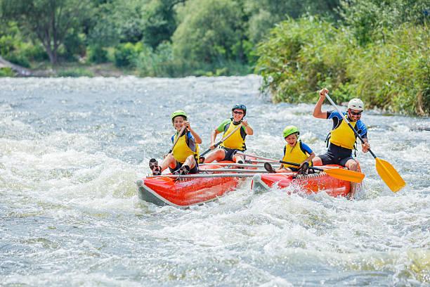 Family River Rafting stock photo