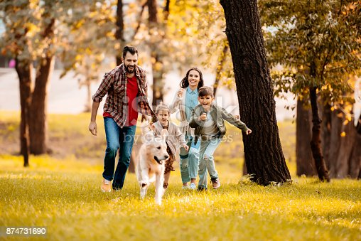 istock family running after dog 874731690
