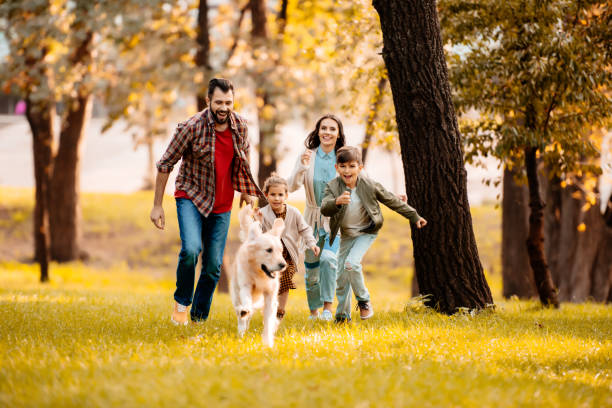 family running after dog - happy dog imagens e fotografias de stock