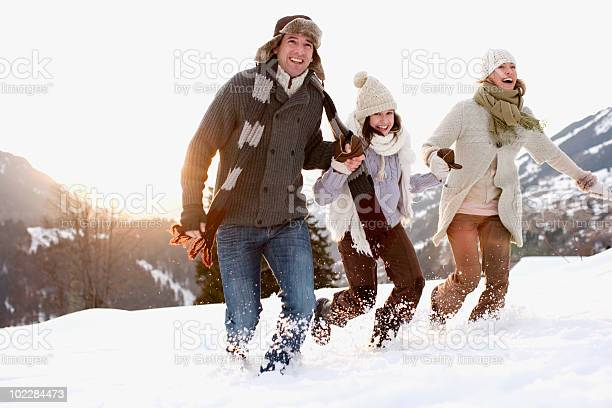 Photo of Family running outdoors in snow