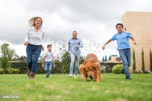 istock Family running outdoors with their dog 488079706